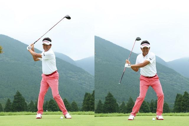 画像: トップで笑顔を作れる力感が大事(左)。クラブを滑り落とせるくらいグリップはゆるめで(右)