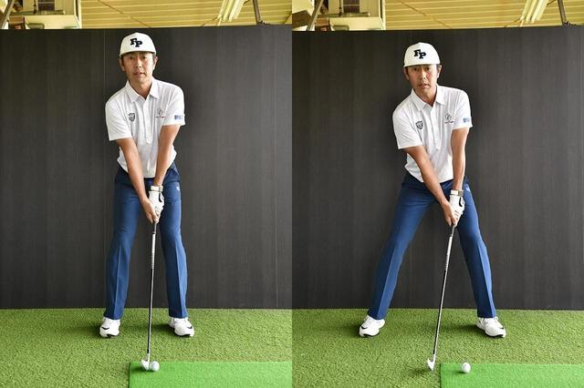画像: 普段のスタンスよりも2足分右足を外側に開こう