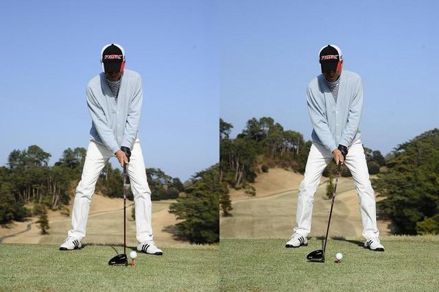 画像: 打ち下ろしの度合いによって、ボール位置を1~2個分、スタンスの中央に寄せる。「ロフトが立って、自然と弾道は低くなります」(寺下)