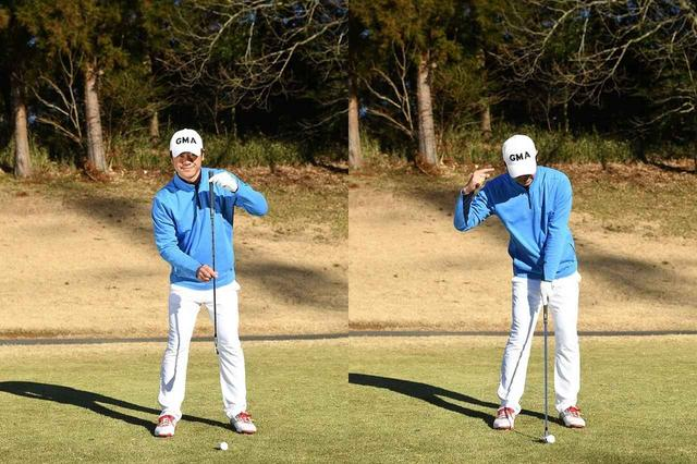 画像: ヘッドの最下点を安定させるため、スウィング軸は左。左軸で構えたら(写真左)、左足にかかる荷重はそのままで、上体だけわずかに右に倒す(写真右)