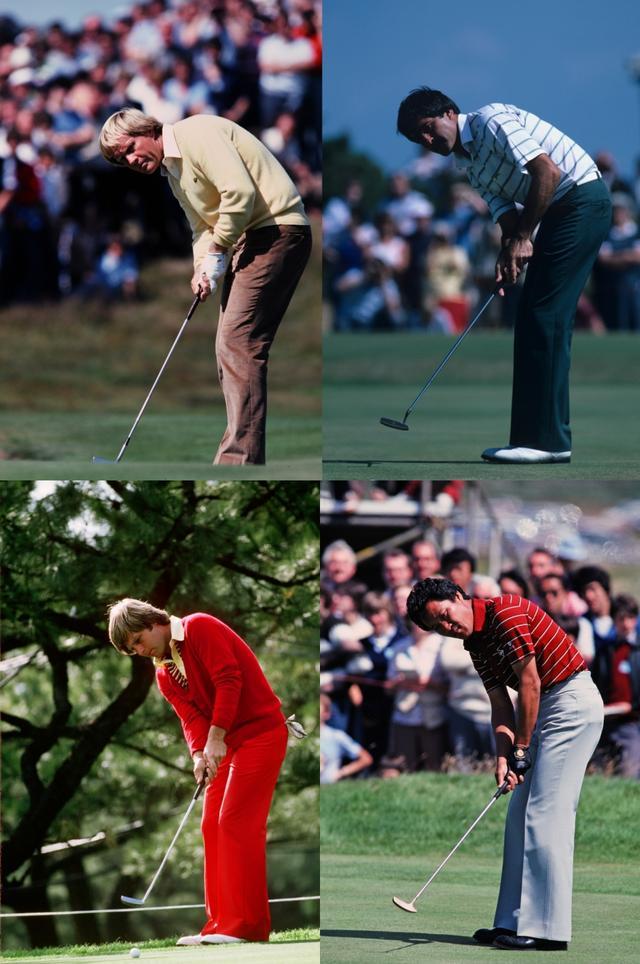 画像: 写真左上から時計回りに青木功、セベ・バレステロス、ベン・クレンショー、青木功。その目とボールの距離は一様に105〜110センチ前後だ
