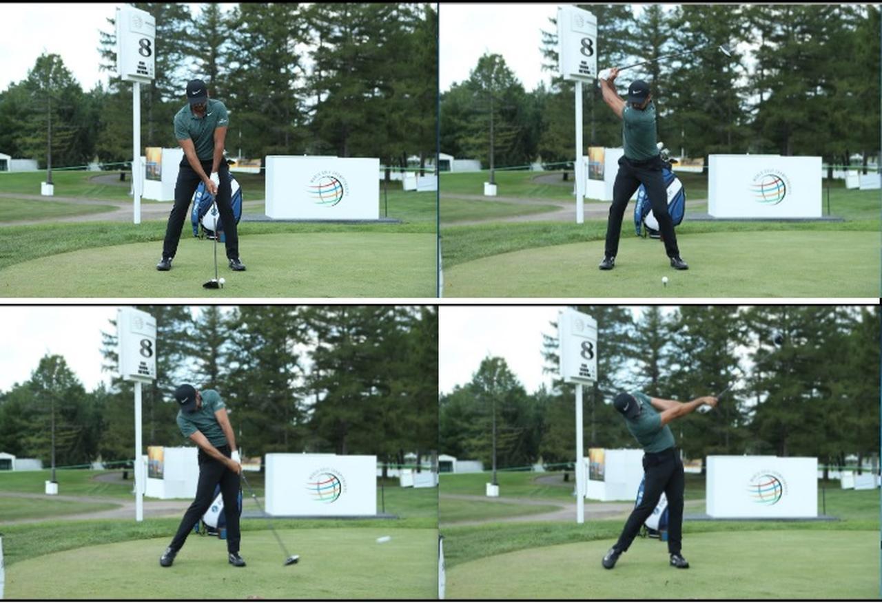 画像: デイのスウィング。コンパクトながら手の位置の高いトップが特徴