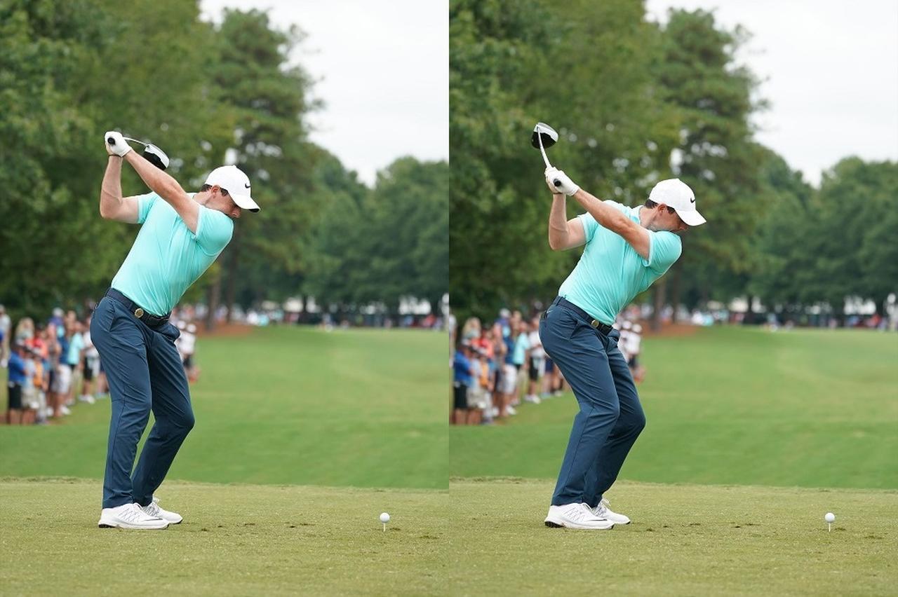 画像: 切り返しで手を真下、もしくは後方に動かすことでさらに捻転差を作る(写真:2017年全米プロゴルフ選手権)