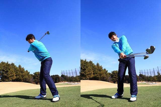 画像: 3本素振りは小さな振り幅でスタートし、振り幅を徐々に大きくしていく。クラブの遠心力を利用し、体重移動量と体の回転量を増やしていこう