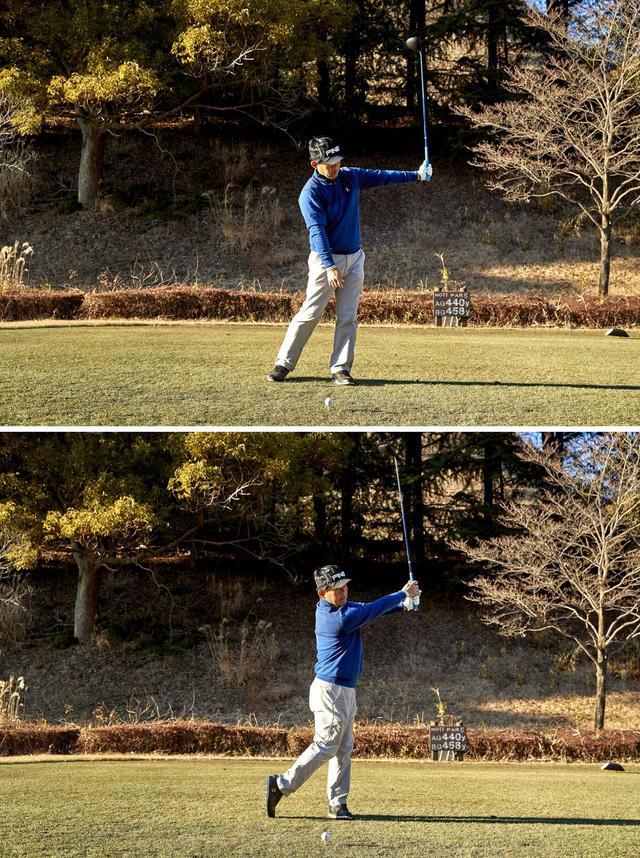 画像: 左腕が地面と水平、シャフトが地面と垂直になるフォローのポジションに、右手を届かせる