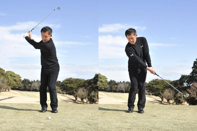 画像: バックスウィングでは上体を右に90度回転し、そこから「左向け、左」の要領で180度回転する。両肩を入れ替えるイメージだが、この動きで左右の重心移動が自然に生まれる