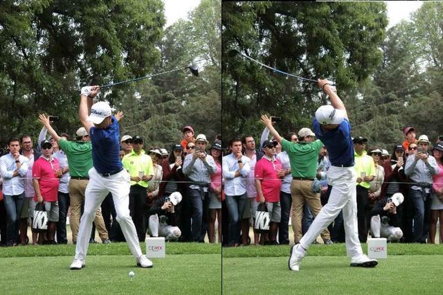 画像: 左足が激しくめくれ、つま先がターゲット方向を向くほど動いているジャスティン・トーマス
