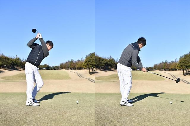 画像: 【アウトアッパー型】バックスウィングで体重が左足に乗り、その反動でダウン以降は体重が右足に乗り、クラブがアウトサイドから下りてアッパーにかち上げる動き