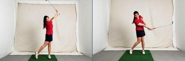 """画像: フォローを大きく(写真左)しても飛距離には関係ないのでは? と、9番アイアンで""""打って終わり""""(写真右)の意識に変えた"""