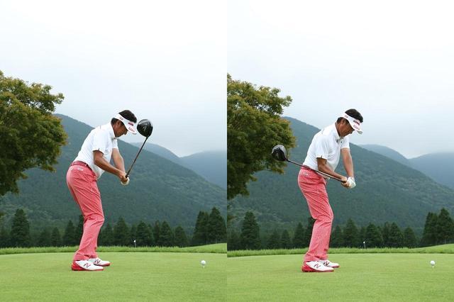 画像: インサイドから下りてくるとドローボール(写真右)、アウトサイドから下りてくるとフェードボール(写真左)