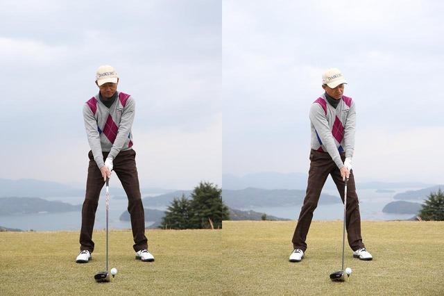 画像: ボールはいつも体の真ん中かやや右側に置く(左)。ハンドファーストに構えると、アドレス時からすでに下半身と上半身がずれ、肩が開いた構えになりやすい(右)