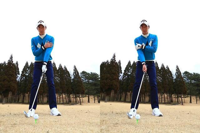 画像: 左手片手うちの場合(左)はわきを締めて体の回転で打つことを意識しよう。右手片手打ち(右)の場合は右手を伸ばしたままインパクトしよう