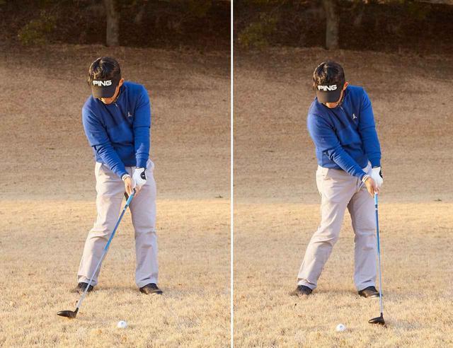 画像: ヘッドを低い位置から低い位置に抜いていき、ティアップしたボールだけを打つ感覚