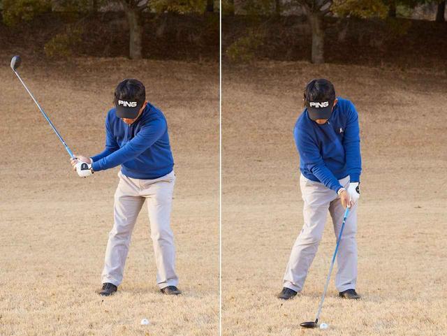 画像: しっかりと左に乗ってハンドファーストに球をとらえる