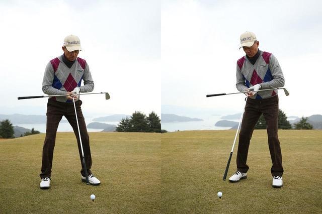 画像: 「スタンスライン」と「体からボールへの線」が、自分から見て「逆T字」になるようにセットする。これを崩さずに目標に対して、体の向きを決めていくと、いつでも体の正面でインパクトできる構えを作ることができる
