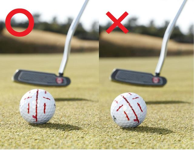 画像: ボールの線が傾かずにキレイな順回転で転がるように打つ