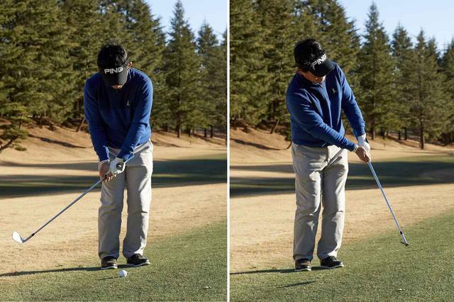 画像: 前後のバランスを崩さないように注意しながら、短く持ったクラブをシャープに振り抜こう