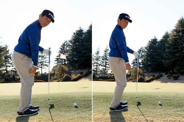 画像: 左の図のようにひざの真上に体の重心がくるようなバランスで立つことが大事。右の図は傾斜なりにかかと重心になってしまっていて、これはNG