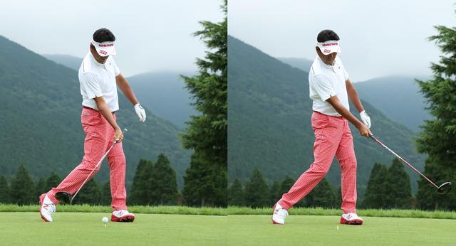 画像: インパクトの前後30センチは、上体や腕は何もしない。左ひじは伸ばし、右ひじは右わき腹につけたまま腰を水平回転するだけ
