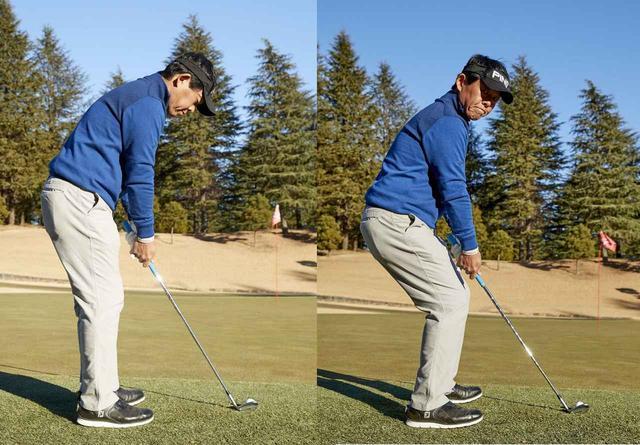 画像: 左のようにつま先側に体重をかけて、お尻を高い位置に保って構えることが大事。右のようなかかと体重は絶対にだめ