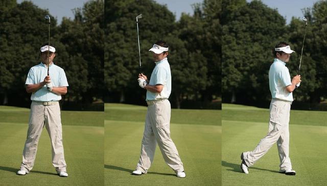 画像: 写真のようにバランスよく立ち、右を向いたり左を向いたりしてみよう。こうして回転すると、背骨側を軸にした、回転の中心を感じることができる。この中心を探し出し、スウィング中に意識することで、いいショットが生まれる
