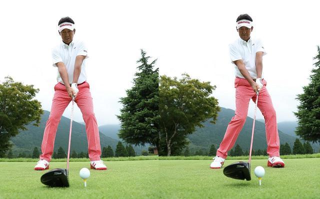 画像: アドレス(左)とインパクト(右)。頭や手元、クラブはアドレスの位置をキープしているが、腰だけはしっかり回っている