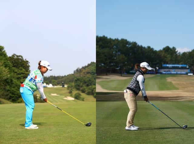 画像: 画像1:手元を低く背中を丸めて構えるアン(写真左)と背筋を伸ばし大きく構える鈴木(写真右)(写真は2017年)