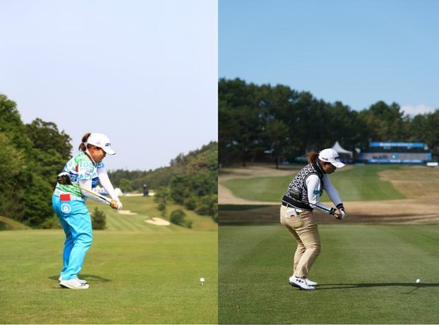 画像: 画像4:ドンピシャで同じ格好のダウンスウィングに入るアン(写真左)と鈴木(写真右)