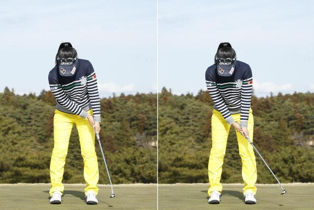 画像: 上手く打つコツは、左の写真のように手首をグラつかせずにホールドして、肩の動きでストロークすること。右写真のように手だけのストロークは厳禁