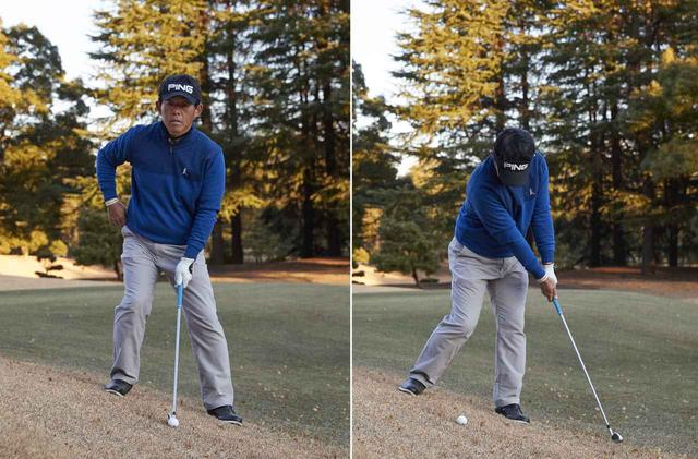 画像: 左足下がりでは、右股関節に支点を作って斜面なりに低く振り抜いていく