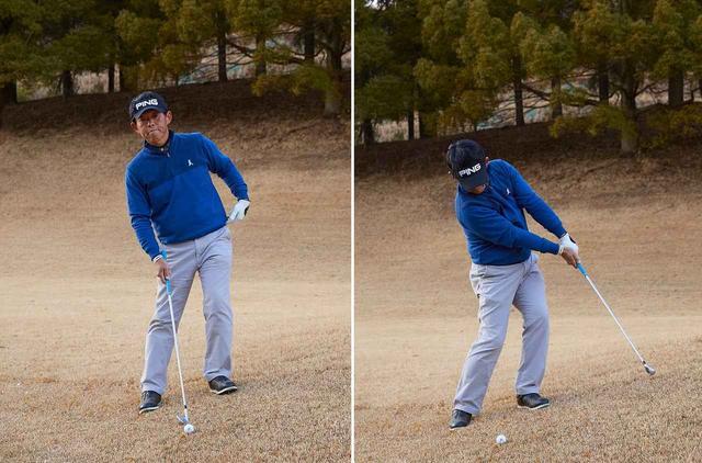 画像: 左足上がりでは、左股関節に支点を置いて斜面なりにアッパー気味に振り抜く