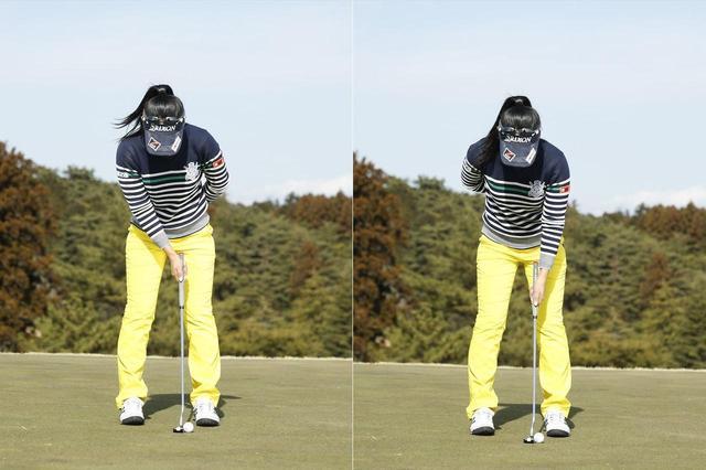 画像: 右手1本、左手1本でそれぞれパターを持って練習すると、小手先でごまかせないため、ストロークの問題点が明確になる