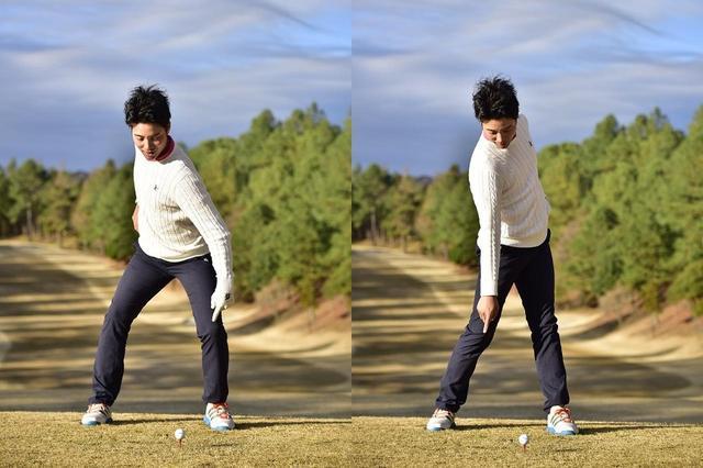 画像: テークバックで、左ひざを前に折り曲げ、ダウンからインパクトにかけて、左ひざを伸ばしていく。これで上体はネジれるので、体や腰を回す意識を持つ必要はまったくいらない