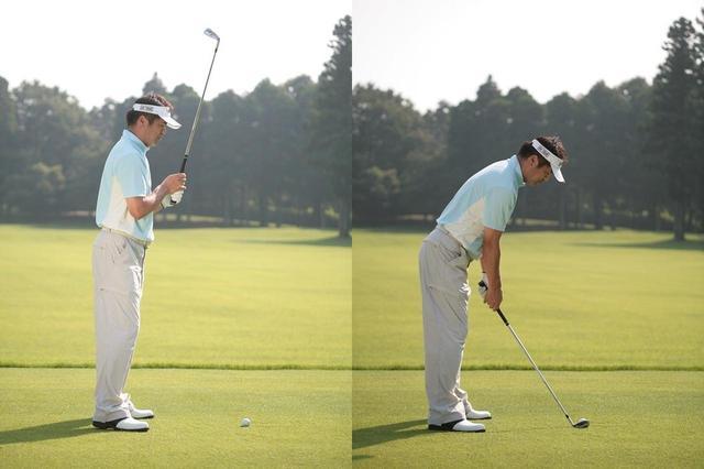 画像: スタンスを歩幅に広げて真っすぐ立ったら、シャフトを立てるようにクラブを持つ(写真左)。両ひざを伸ばしたまま、頭を前に倒す。かかとが浮き、倒れる寸前まで前傾したら両ひざを軽く曲げ、クラブを下ろす(写真右)