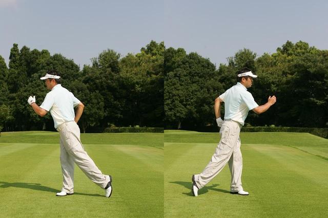 画像: 頭を右(飛球線後方)に動かして、体ごと右を向く。これがバックスウィングの体の動き。ここから、頭を左に振って、飛球方向にダッシュするのがフォワードスウィングだ。スウィングはシンプルな動きの方が再現性が高い