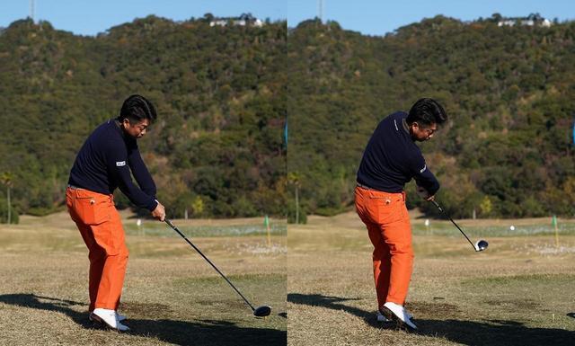 画像: 池田選手のインパクト直前(左)と直後(右)。腰の動きがほとんど同じなのがわかる