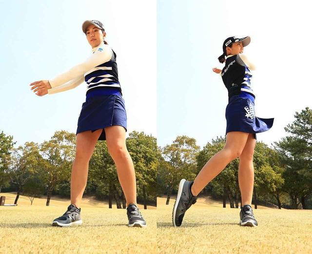 画像: 体の回転に腕がついてくる動きが理想。腕に力が入っていると体と腕の動きが連動しないので、結果的に手打ちになる。体を主体にスウィングするから、反復性も高くなる