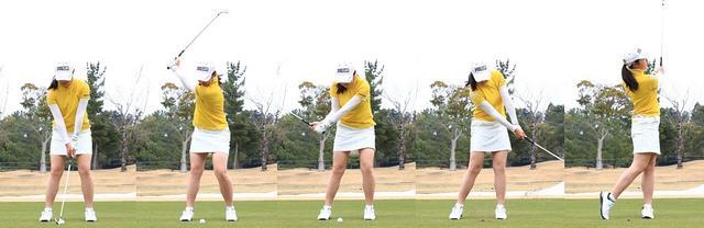 画像: 弾道を低く抑えたいときは右足寄りにボールを置く。手先ではなく体の捻転で、バックスウィングしよう(撮影/大澤進二)