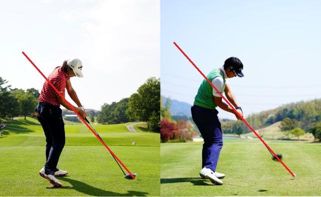 画像: 2017年(左)と2018年(右)の比較。ボールから同じ角度で引かれた線に対し、手元の浮く度合いがわずかに少ないのがわかる。完璧なオンプレーンだ
