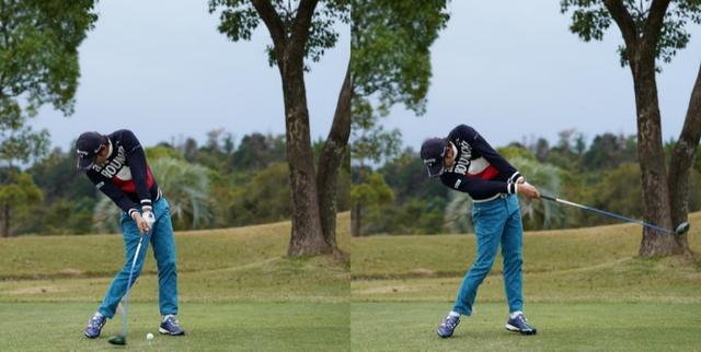 画像: 写真2.前傾姿勢をキープして捻転差をそのまま飛ばしのパワーに変えている