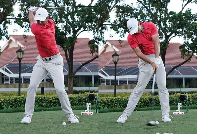 画像: ベルトのバックルはつねにスタンスの真ん中。インパクトの右足に注目すると、右足と右腰を結ぶラインが斜めのままなのがわかる。(写真は2018年のザ・ホンダクラシック 撮影/姉崎正)