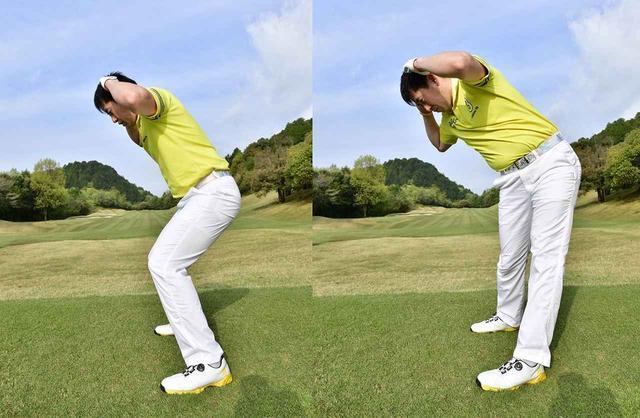 画像: 沈み込んで、ひざを跳ね上げるとき、頭の高さを変えなければ、前傾角度が変わらないまま、腰も勝手に回転する。逆に頭の高さが変わると、前傾角度が起き上がって振り遅れのミスになる(撮影/有原裕晶)