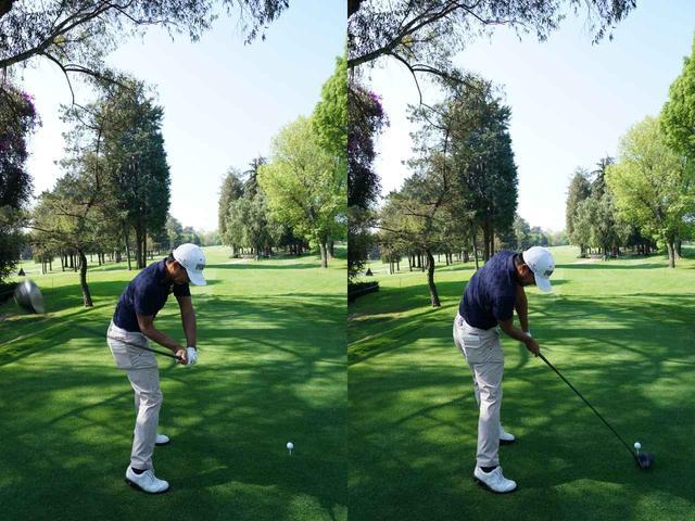 画像: フラットな軌道でシャフトを下ろし(写真左)、インパクトで左手とシャフトが作る角度は160度以下(写真右)と「R160」を満たしている
