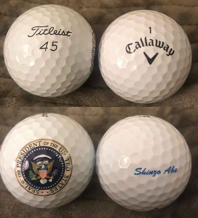 画像: トランプ大統領の特注ボール(写真左上と左下)と安倍首相の特注ボール(写真右上と右下)
