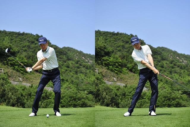 画像: ボールに対して飛球線方向と直角にフェースを当て、なるべくフェースローテーションを使わない打ち方をすれば曲がりにくい。手首は自然に返るものなので、無理に手首を返そうとしない