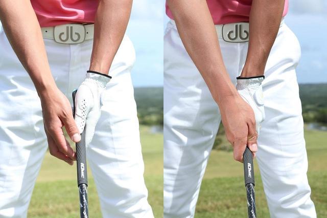 画像: 左手親指をシャフトの上に乗せ、右手でくるむようにフィンガーで握る