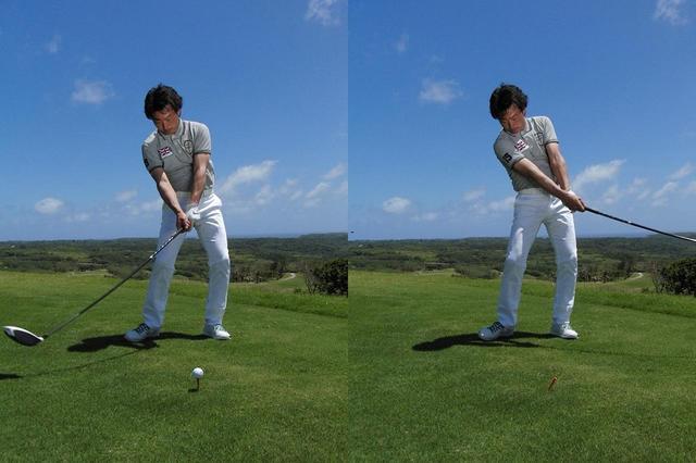 画像: クルマのハンドルを切るように腕を回す「右折(写真左)」と「左折(写真右)」