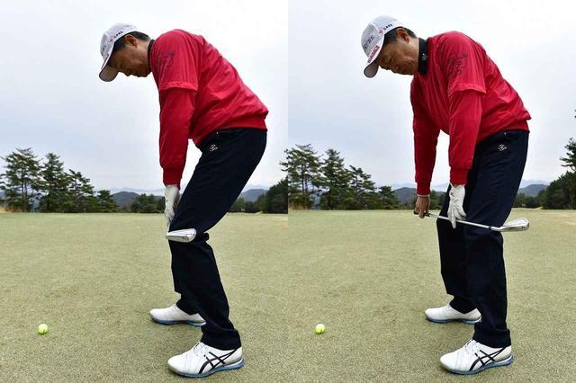 画像: 「トップを小さく」ではなく「左足を引いて」飛距離を調整する