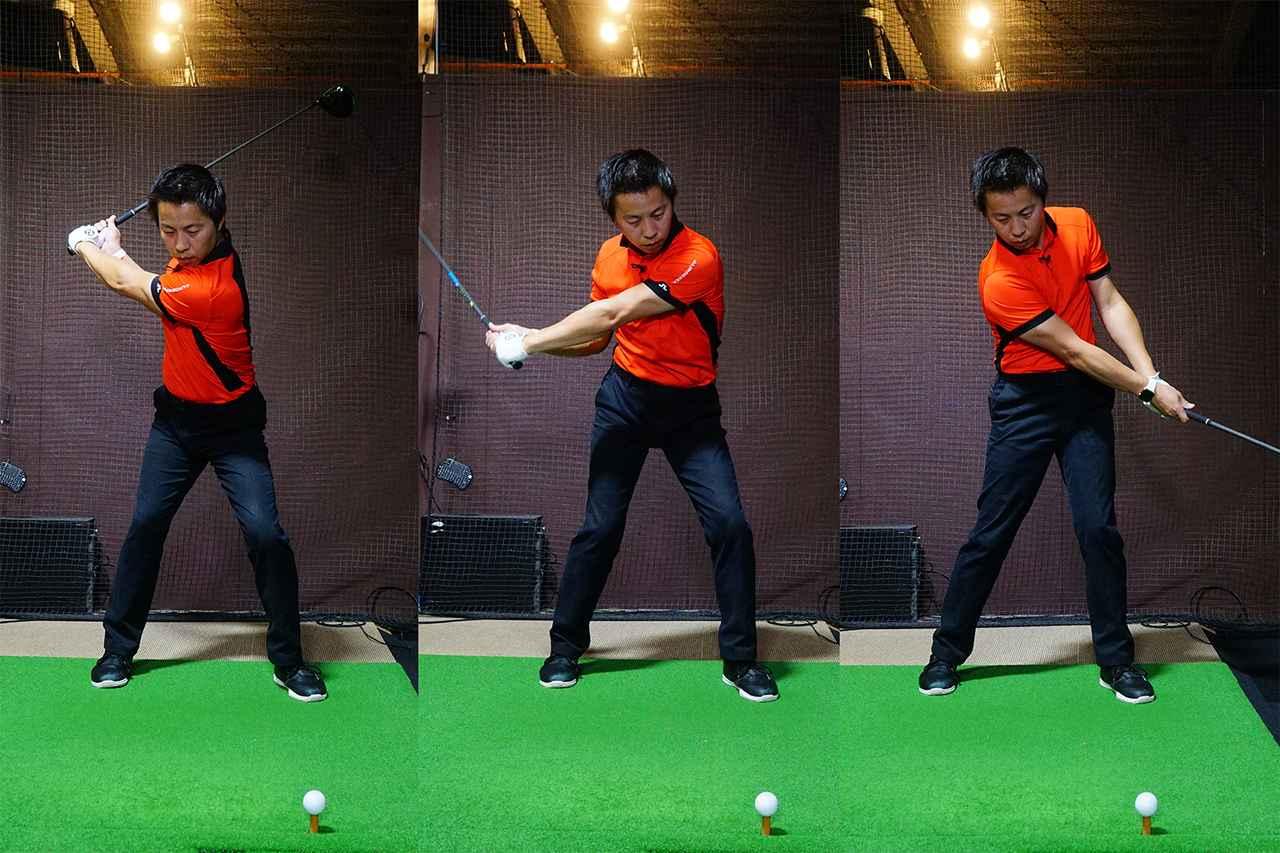 画像: 右→左→右の体重移動によって力のタメができ、ヘッドスピードが急加速する
