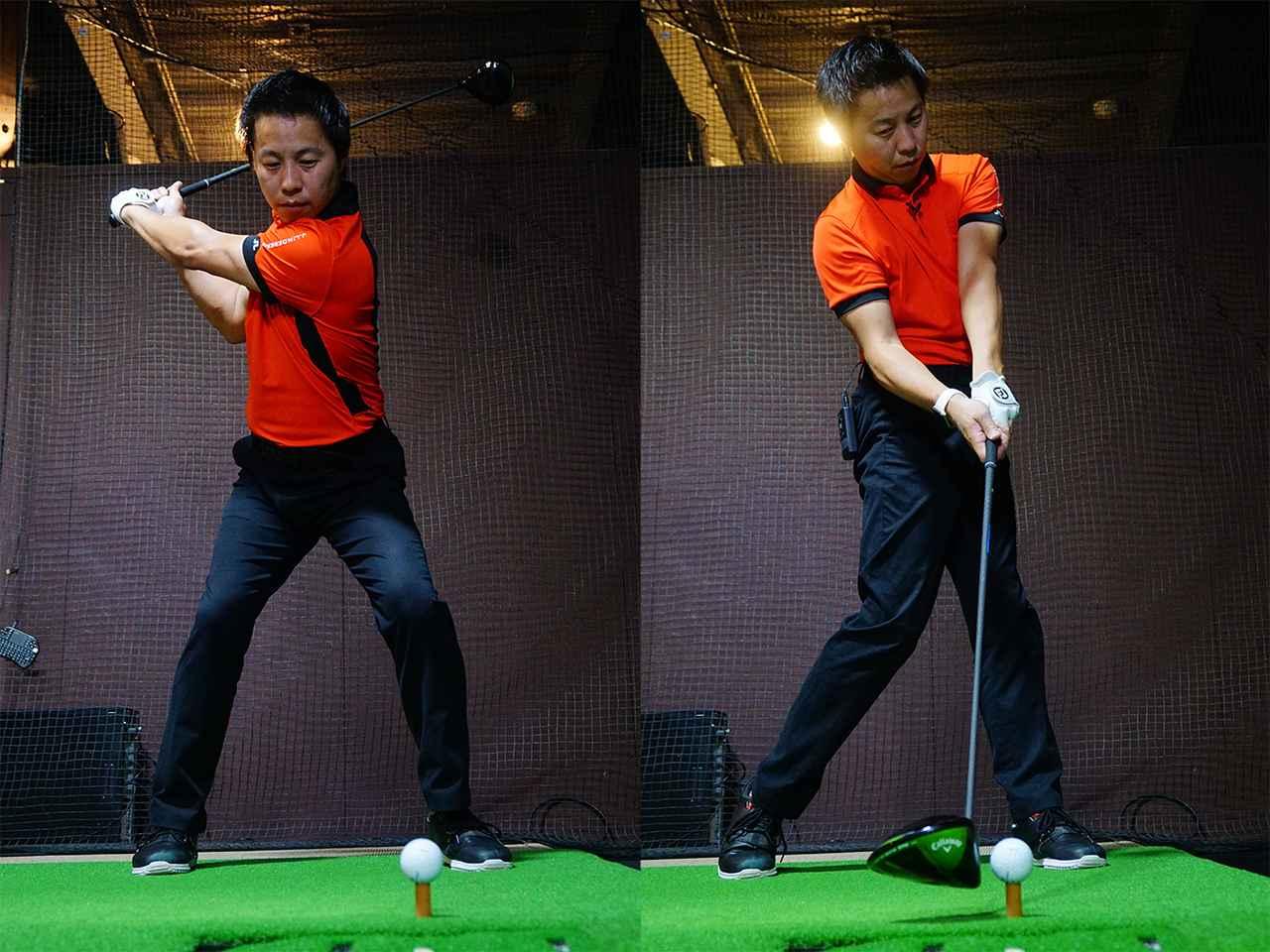 画像: 地面を強く踏み込み膝を伸ばすことで、腰の回転力があがる